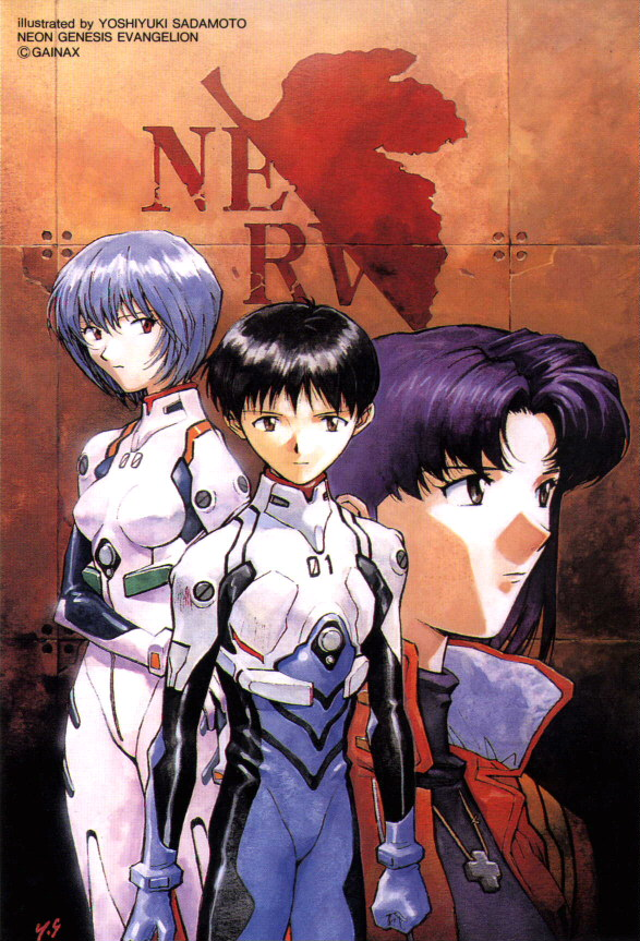 Shinji middle, Rei Left, Misato right